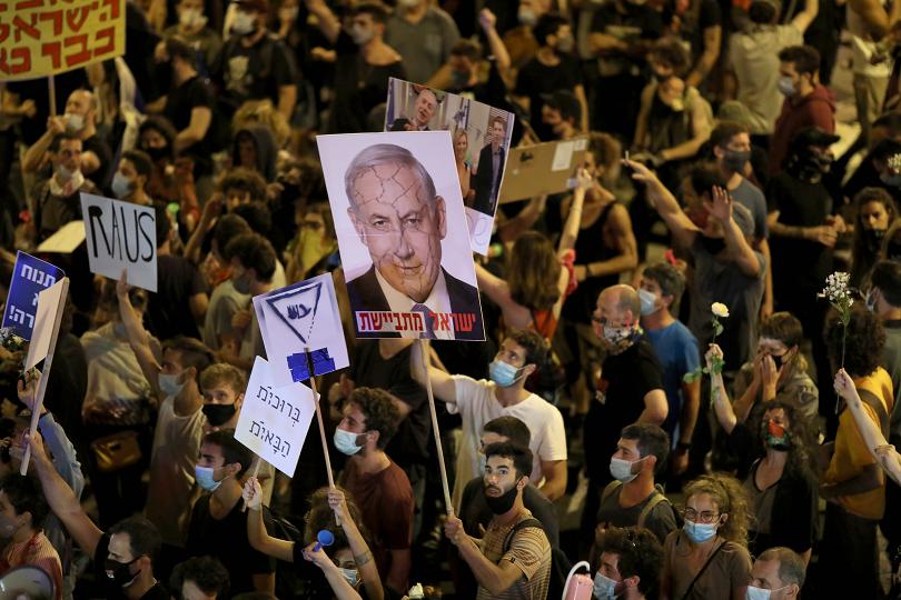 демонстрации израел против подкрепа нетаняху
