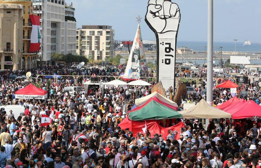 разпръснаха сълзотворен газ протестиращи бейрут