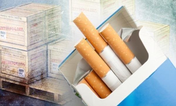 задържаха близо тон нарязани кутии цигари логото световно известна марка