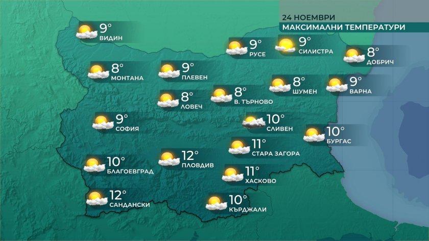 максималните температури 7deg 12deg