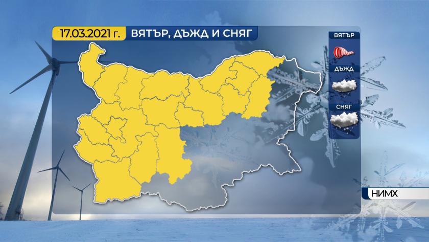 код жълто проливни валежи силен вятър сряда