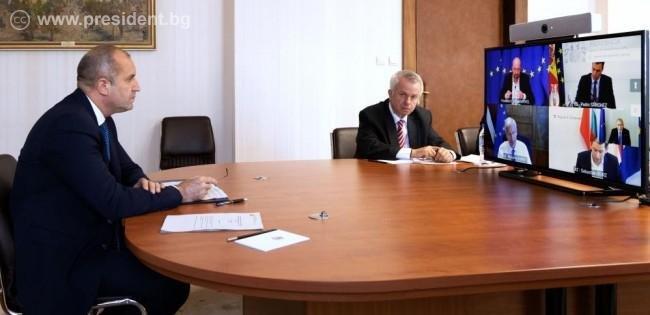 президентът радев проведе видеоконферентен разговор председателя европейския съвет шарл мишел