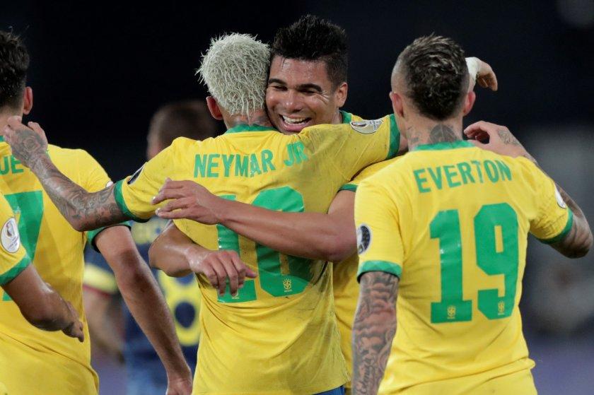 бразилия стигна успех колумбия късен гол