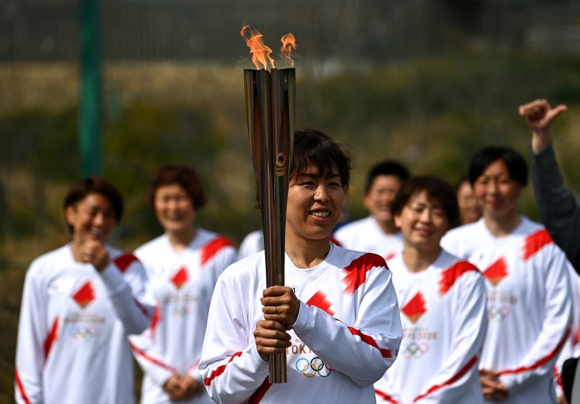 олимпийският огън пристигна токио
