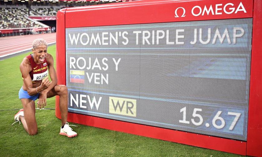 юлимар рохас спечели титлата тройния скок световен рекорд