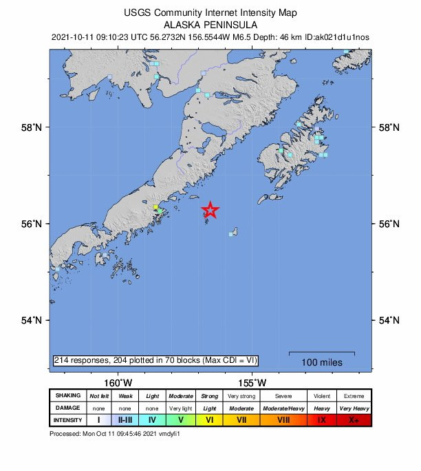 мощно земетресение магнитуд удари аляска