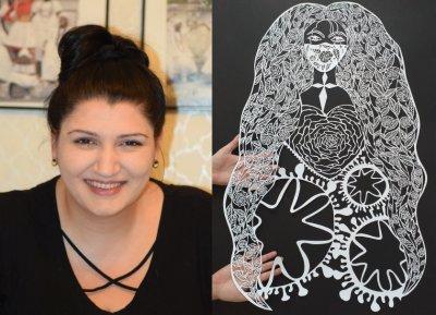 Художничка посвети картина на COVID-19, нарисувана със скалпел