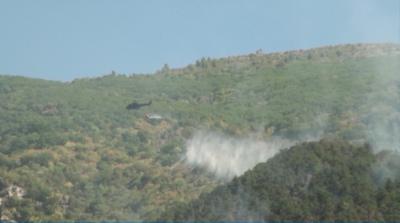 Остава рискът от възникването на повторни огнища в гората над Карлово