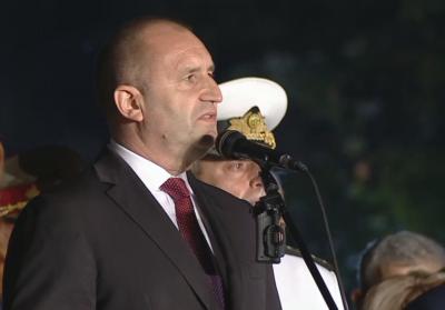 """Президентът Радев: Днес будна България преоткрива силата на девиза """"Съединението прави силата"""""""