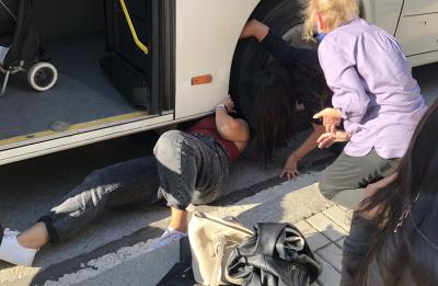 Пътници спасиха коте, заклещено в гумата на автобус от градския транспорт