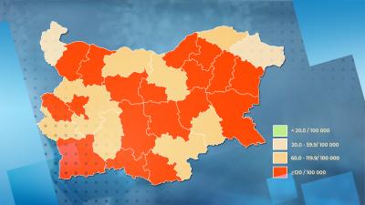 """Увеличават се критичните """"червени области"""" в страната"""