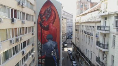 """""""Св. Георги и змеят"""" е най-новият графити стенопис в София"""