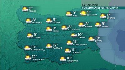 Максималните температури ще са между 7° и 12°