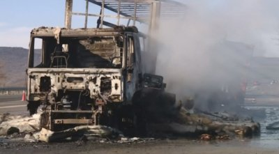 "Камион изгоря на магистрала ""Хемус"""