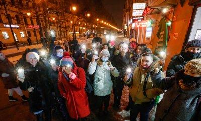 Демонстрации със светещи телефони в подкрепа на Навални в Русия