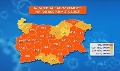 Още 5 области в страната са в червената зона по заболеваемост