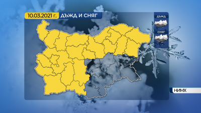Жълт код за дъжд и сняг днес