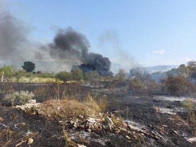 Пожар горя до пловдивското село Първенец