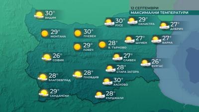 Температури между 25 и 30 градуса днес