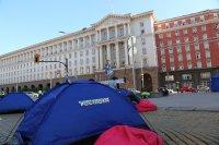 """снимка 2 22-и ден антиправителствен протест - остава палаткова блокада на Орлов мост и на бул. """"Цар Освободител"""""""