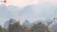Все още не е овладян пожарът край село Лесово