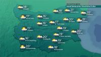 Облачно и дъждовно време утре, с температури до 20°