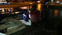 Тир се преобърна на булевард в Бургас след гонка с полицията