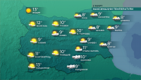 Максималните температури днес ще бъдат между 8° и 13°