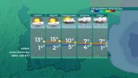 Температури от 11 до 16 градуса в съботния ден