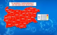 Цяла България остава в червената зона на COVID-19