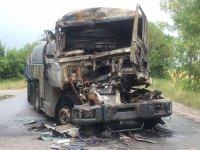 Камион изгоря след катастрофа на пътя Чирпан - Стара Загора