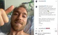 Ериксен публикува снимка и послание от болничното легло