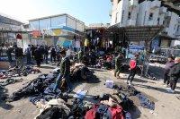 Най-малко 28 души загинаха при експлозия на оживен пазар в Багдад