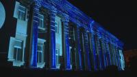 Прожекция върху сградата на Националната библиотека събра десетки зрители