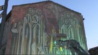 Защо багер подпря пано в старата част на Велико Търново?